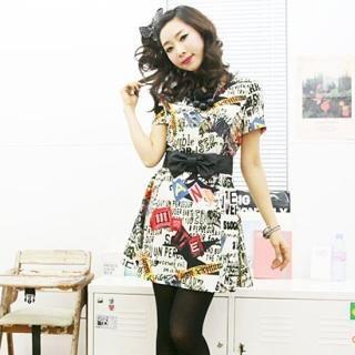 Buy BBon-J Short-Sleeve Lettering Print Dress 1021977589