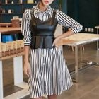 Set: Striped Shirtdress + Faux Leather Bustier Top 1596