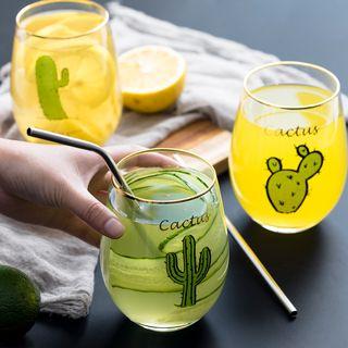 Image of Cactus / Flamingo / Deer / Cat Print Drinking Glass with Golden Trim