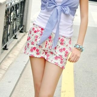 Buy With Mocha Floral Print Shorts 1022920728