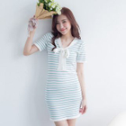 Short-Sleeve Tie-Neck Striped Knit Dress 1596