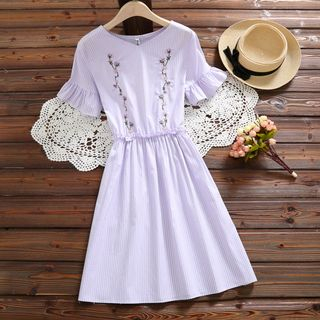 Image of Short-Sleeve Embroidered A-Line Midi Dress
