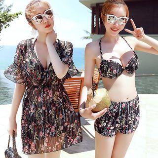 Set: Printed Bikini Top + Swim Shorts + Cover-Up Dress 1064696209