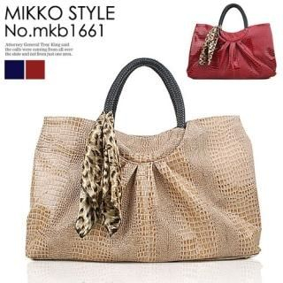 Buy Mikko Scarf-Accent Croc-Grain Shoulder Bag 1023005203