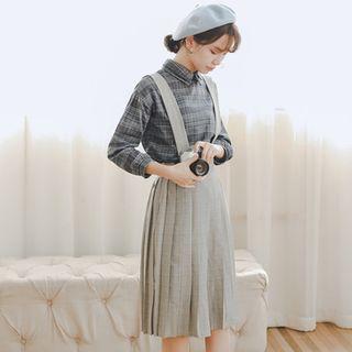 Miahynn Plaid Pleated Jumper Dress