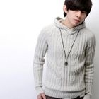 Cable-Knit Hooded Sweater