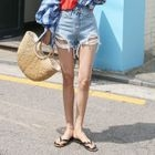 Distressed Washed Denim Shorts 1596