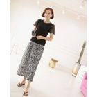 Band-Waist Patterned Long Skirt 1596