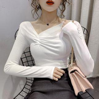 Image of Asymmetric Neckline Shirred Long-Sleeve T-Shirt