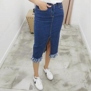 Slit-Front Denim Pencil Skirt