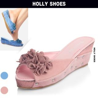 Buy Holly Shoes Rosette Accent Wedge Slippers 1022970904