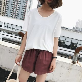 Short Sleeve Ribbed Top 1059864756