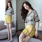 Set: Elbow-Sleeve Patterned Top + A-Line Skirt 1596