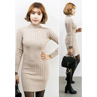 Turtle-Neck Ribbed Knit Bodycon Dress 1055026291