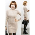 Turtle-Neck Ribbed Knit Bodycon Dress 1596