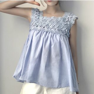 Sleeveless Lace Panel Top 1066725562