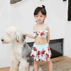 Kids Set: Floral Print Swim Top + Swim Skirt 1596