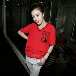 Elbow-Sleeve V-Neck T-Shirt 1050050093