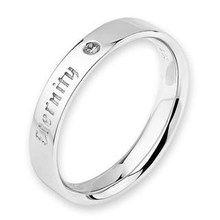 18K White Gold Eternity Engraved Diamond Solitaire Women Ring Band (0.01ct) thumbnail