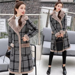 Tabla Fleece Panel Plaid Double Breasted Coat