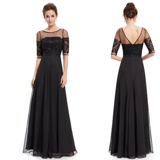 Elbow-Sleeve Lace Panel Evening Gown 1049448100