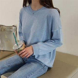 Drop-Shoulder Pastel-Color Knit Top 1064964995