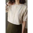 Short-Sleeve Lace-Trim Knit Top 1596