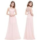 Sheer Yoke Sleeveless A-Line Evening Gown 1596