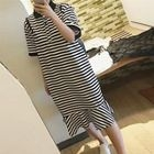 Striped Ruffle Hem Short Sleeve Polo T-Shirt Dress 1596