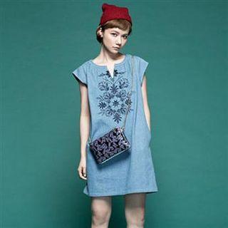 Short-sleeve | Embroider | Denim | Dress | Blue | Size | One