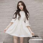3/4-Sleeve Lace-Panel A-Line Dress 1596