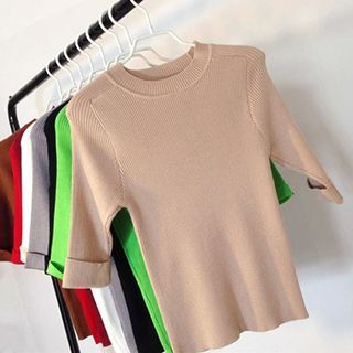 Ribbed Knit Elbow Sleeve T-Shirt 1051016462