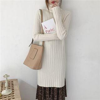 Turtleneck Side Slit Rib Knit Dress 1063788115