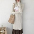 Turtleneck Side Slit Rib Knit Dress 1596