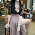 Short-Sleeve Lace Panel A-line Maxi Dress 1596
