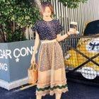 Set: Short-Sleeve Floral Print Mini Dress + Sheer Midi Skirt 1596