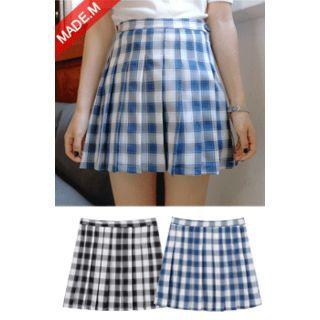 Plaid Pleated Mini Skirt 1057140046