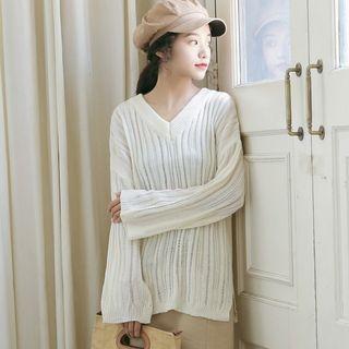 Ribbed V-Neck Sweater 1061911503
