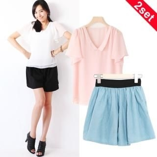 Buy yeomong Set: Short-Sleeve Chiffon Blouse + Shorts 1022965408