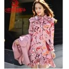 Floral Print Long-Sleeve Collared Dress 1596