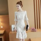 Off-Shoulder Elbow-Sleeve Lace Sheath Dress 1596