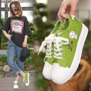 Image of Cat Lace Up Canvas Sneakers