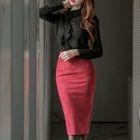 Set: Ruffled Chiffon Blouse + Skirt 1596