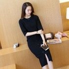 Set: Elbow-Sleeve Knit Top + Buttoned Knit Skirt 1596