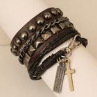 Set: Studded Bracelets + Cross Charm Bracelet 1596
