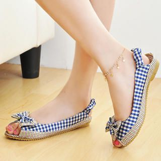 Picture of KAWO Gingham Peep-Toe Flats 1022875462 (Flat Shoes, KAWO Shoes, China Shoes, Womens Shoes, Womens Flat Shoes)