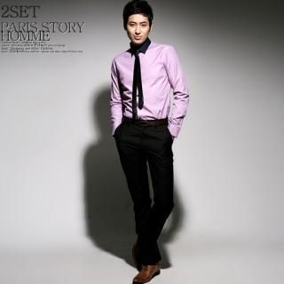 Picture of Paris Story Set: Contrast Collar Shirt + Dress Pants 1022260468 (Paris Story, Mens Suits, Korea)
