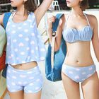 Set : Heart Printed Bikini + Cover-up Tank Top + Swim Shorts 1596