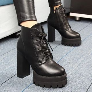Lace-Up Chunky Heel Platform Ankle Boots