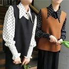 Set: Dotted Blouse + V-Neck Knit Vest 1596